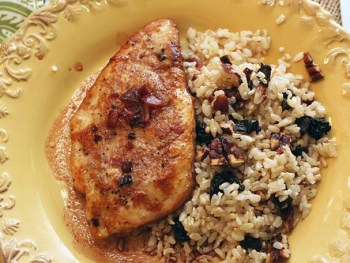 Chicken with Pomegranate Shallot Pan Sauce