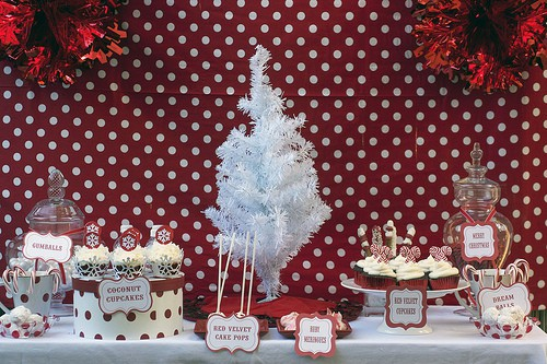 red and white christmas dessert bar