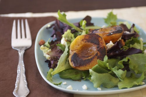Grilled Apricots, Cherries, Goat Cheese and Pancetta Salad
