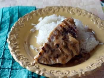 Seared Swordish with Lemongrass Crust and Thai Peanut Sauce