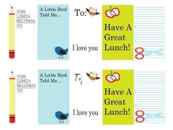Free Download:  School Lunch Tags