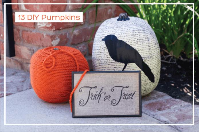 13 DIY Pumpkins yarn and bird
