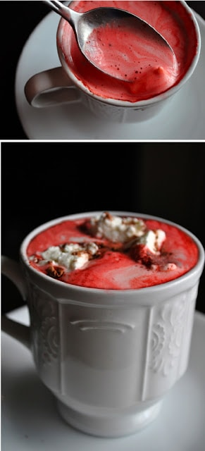 red velvet hot chocolate double