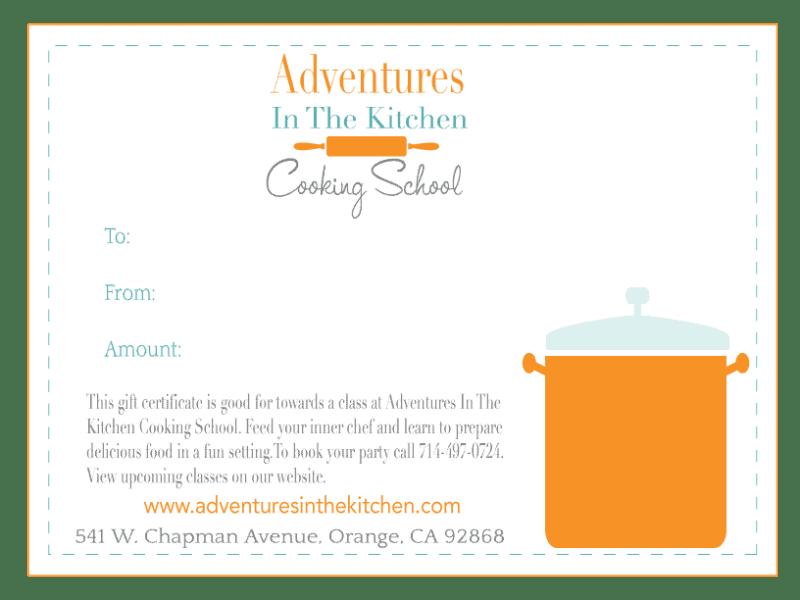 AIK cooking school gift certificate