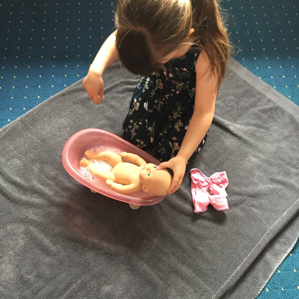 child bathing baby annabel doll