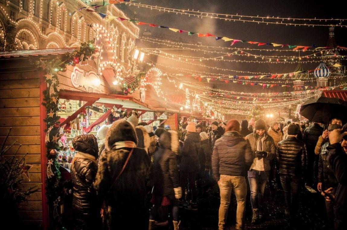festive Christmas market with fairy lights