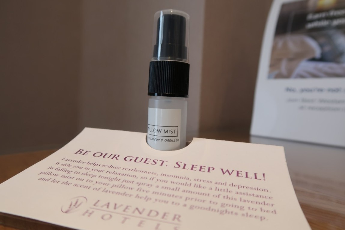 pillow mist in a hotel room