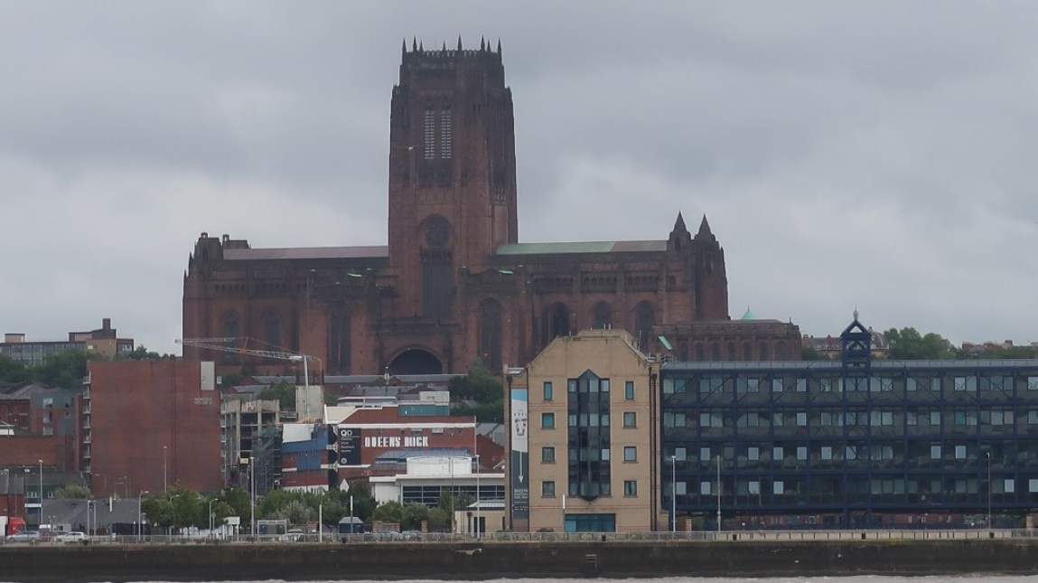 liverpool cathedral as seen from mersey ferry snowdrop