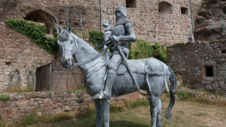 rider in armour on horse statue Mont Orgueil Castle Jersey