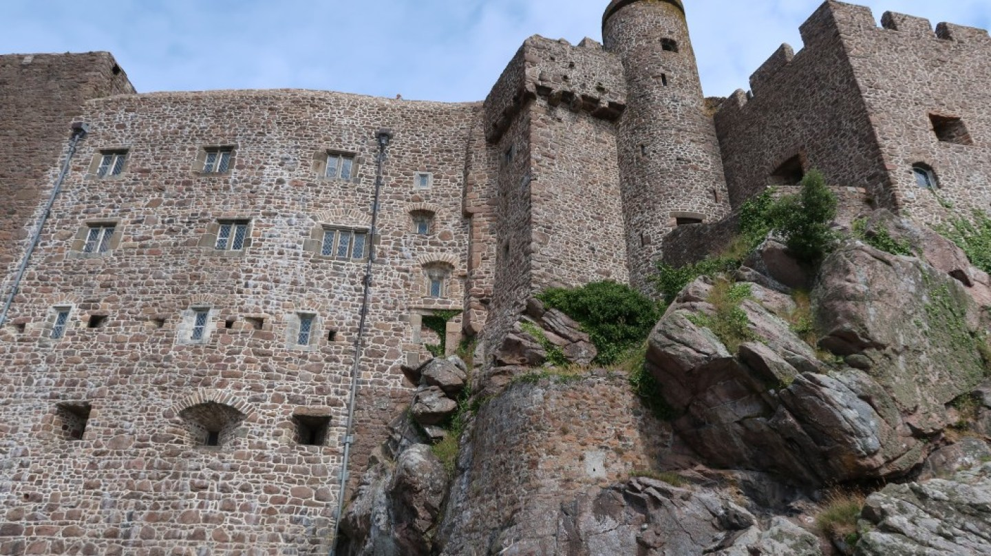 close view of walls of Mont Orgueil Castle Jersey