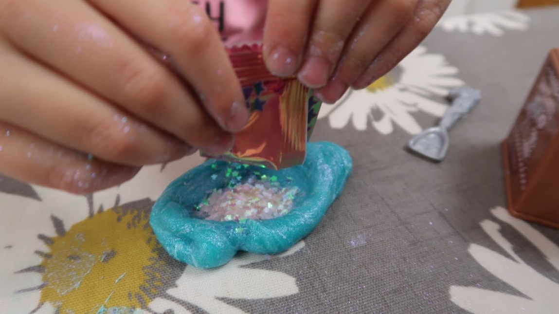 magic sparkles in slime