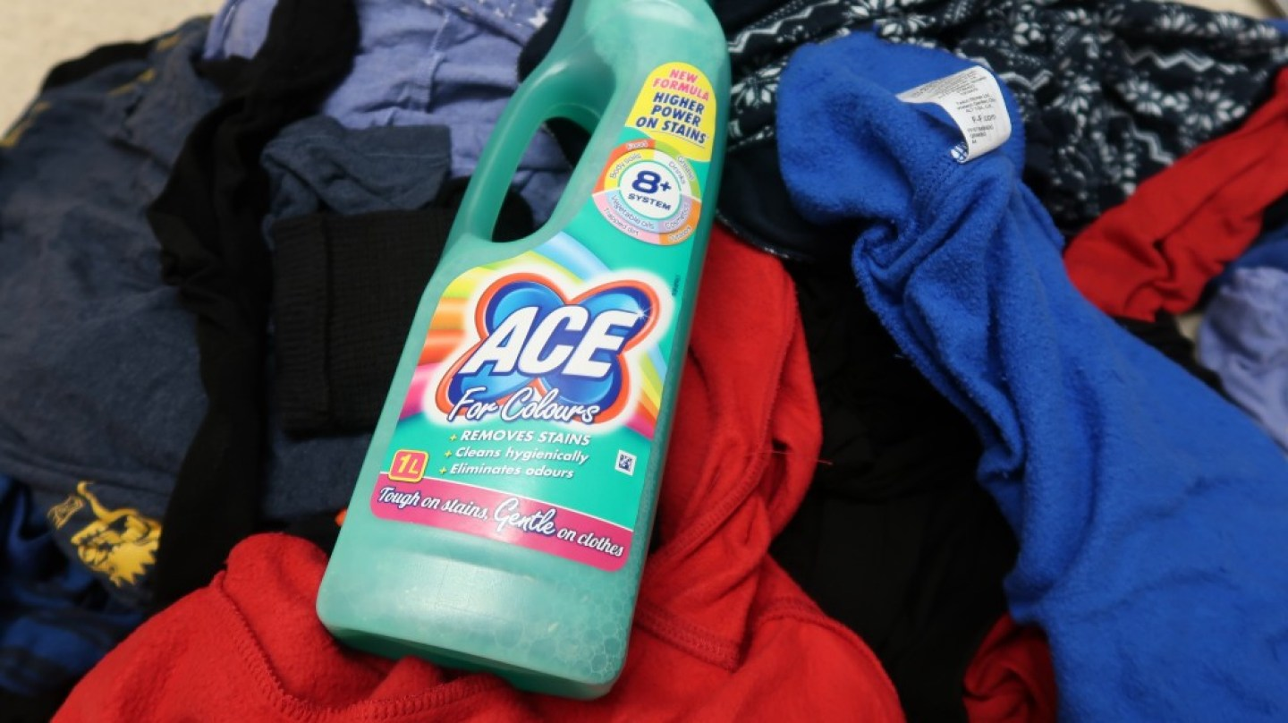 Ace for colours on a pile of laundry