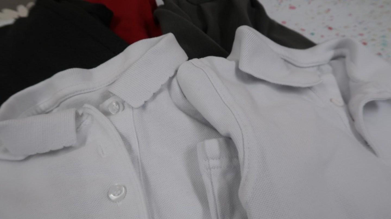 clean school uniform white polo shirts