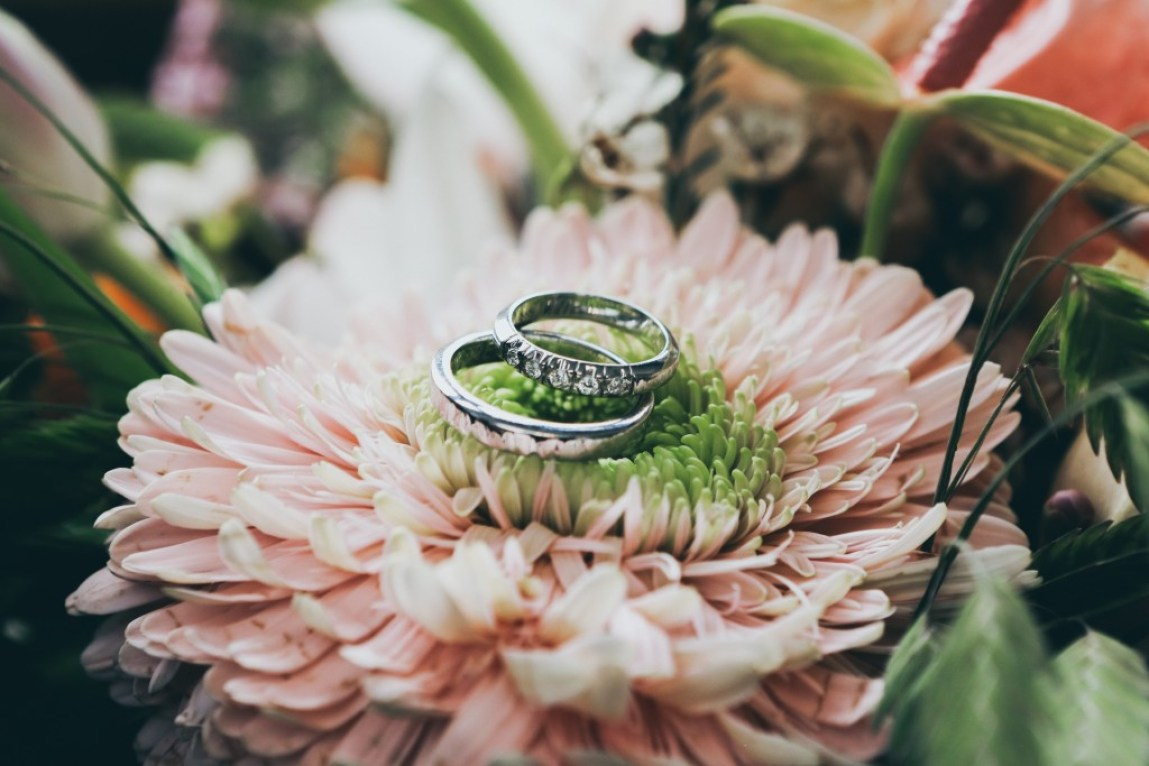 wedding rings sitting on a pink flower