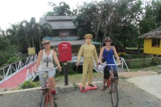 Old fashioned bikes were scattered around the Memorial Bridge in Pai.