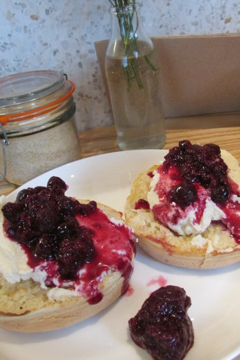 Berry compote, ricotta cheese and warm crumpets...mmm