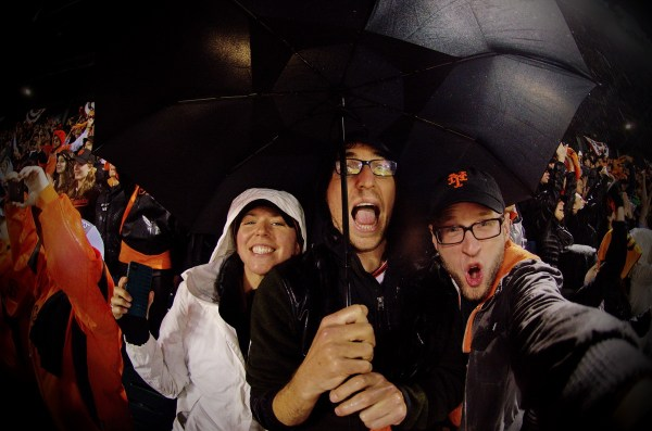 From right to left, Rhyannon, Eric and Me -- cheering like crazy moments after the Giants clinched the 2012 National League Pennant