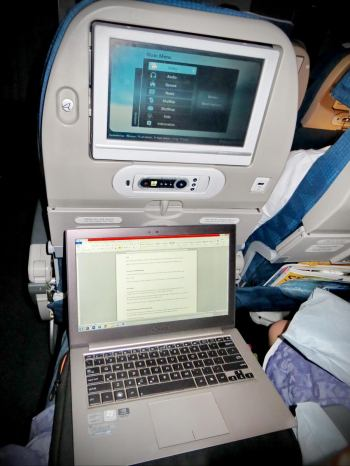 During the 14 hour flight, I spent about 11 hours sleeping. While I was awake, I wrote this post from my seat.