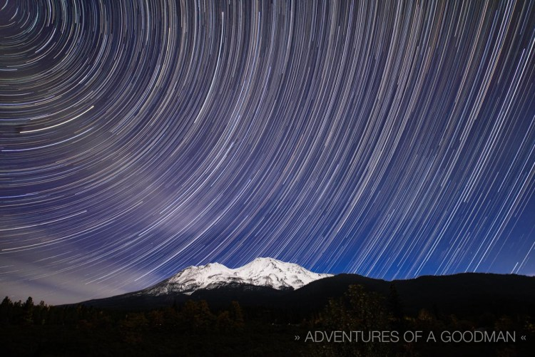2.5 hours of stars moving across the night sky above Mount Shasta, California