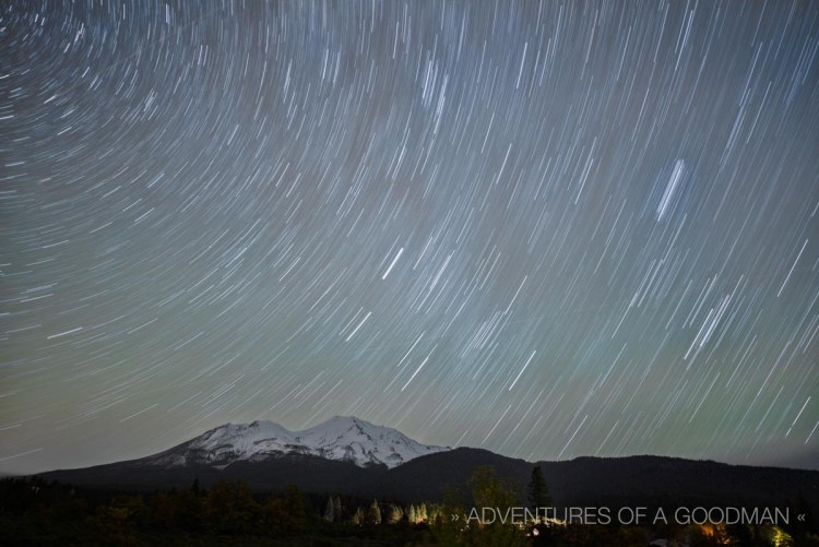 A 22 minute exposure of the night sky above Mt. Shasta