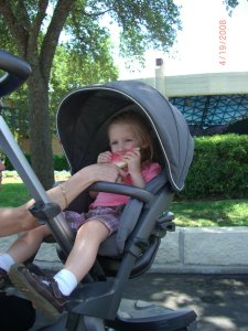 Caris in her Stokke stroller - three years old.