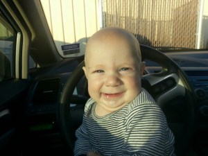 Now this is a happy baby that just got a roadside snack...