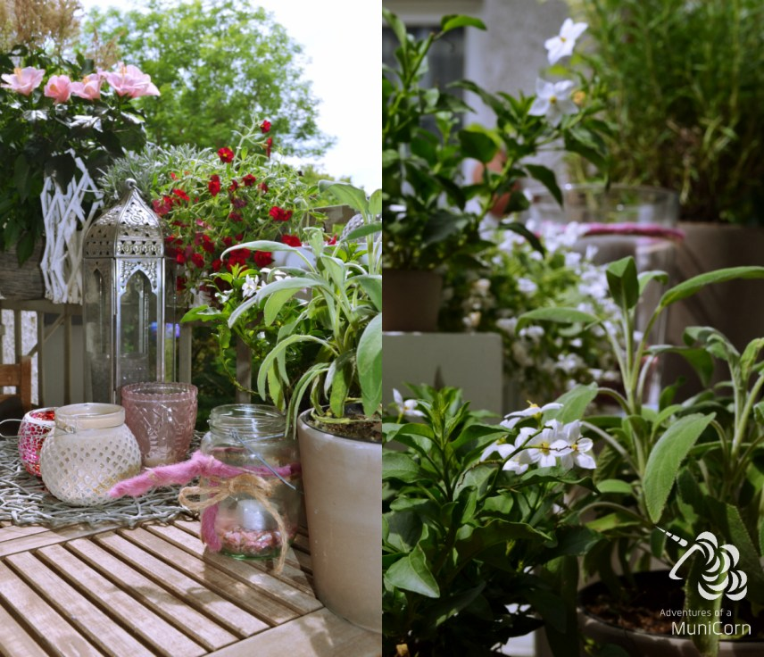 Balkon inspiration weiß, rosa, grau