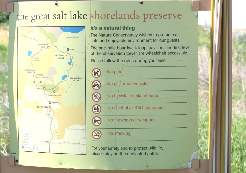 Instructions at Great Salt Lake Shorelands Preserve