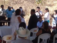 Bride and groom say vows at Mexcian wedding