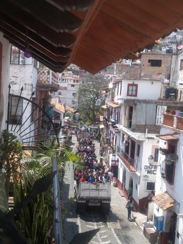 Truckloads of Lenten observers, Taxco de Alarcon, Mexico