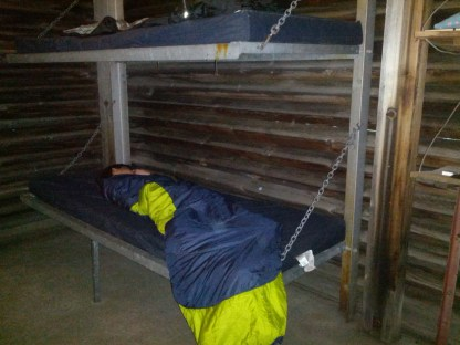 1 of 2 bunk beds inside the tent cabin