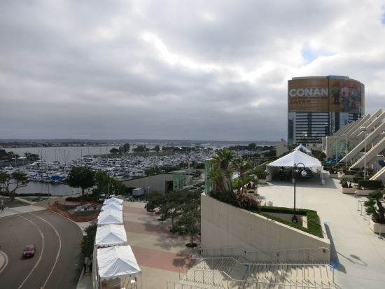 View of the marina + Conan ad on the Marriott from the convention center patio