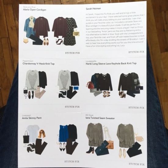 Stitch Fix December 2015 Styling Cards