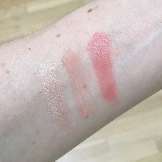 Birchbox x Vogue 125 makeup swatches, L to R: NARS Soft Touch Shadow Pencil, Aerin Rose Lip Conditioner, rms beauty lip2cheek