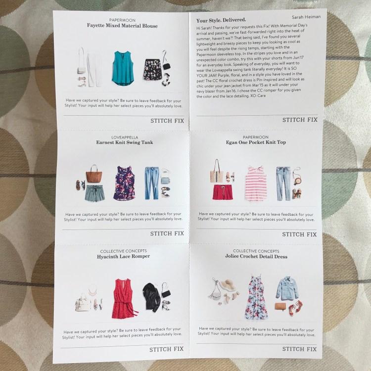 June 2018 Stitch Fix Styling Cards
