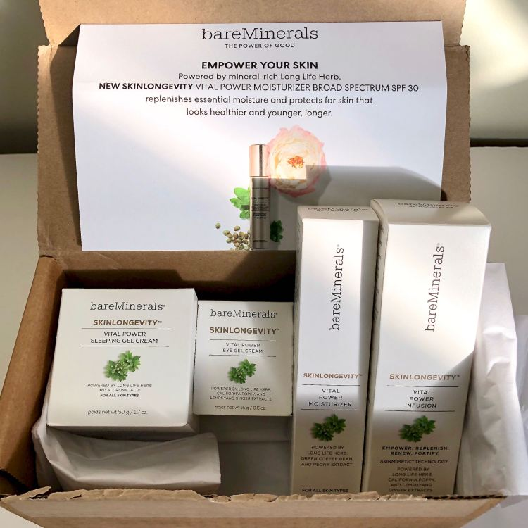 Skinlongevity PR box from bareMinerals