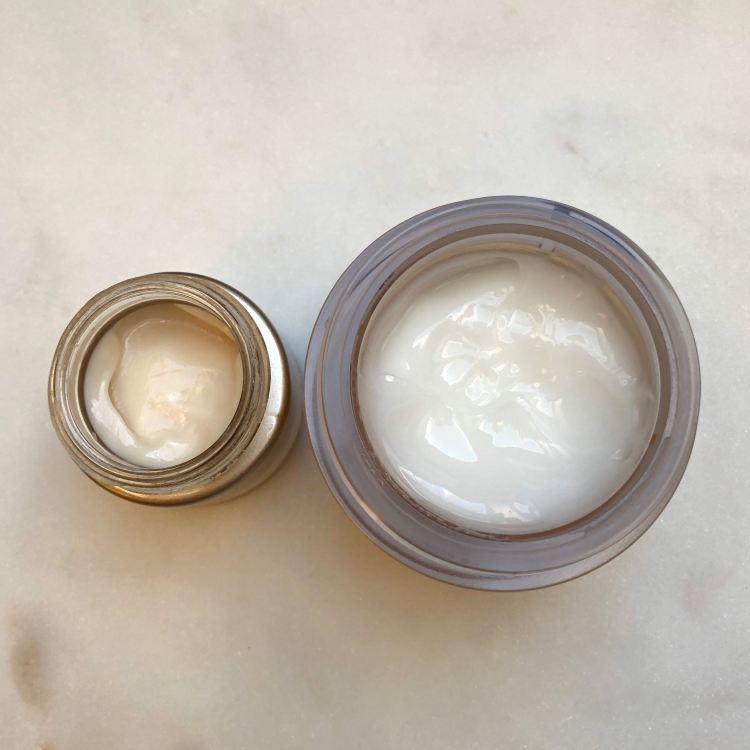 Eye Cream and Sleeping Gel Cream textures