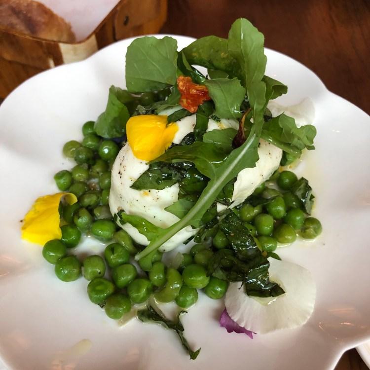 Mozzarella and Peas Appetizer at Sfoglina
