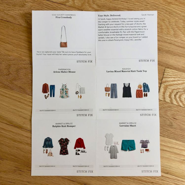 June Stitch Fix styling cards