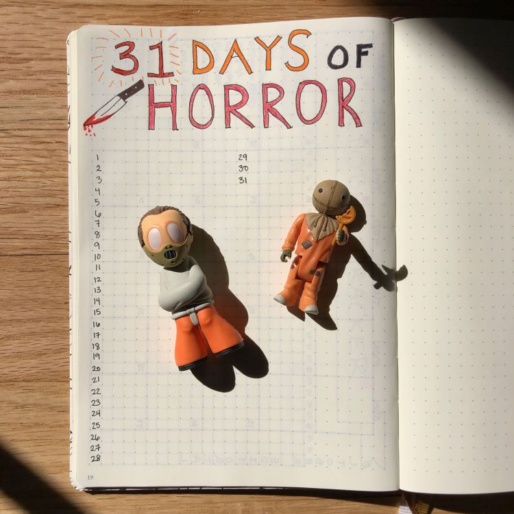 31 Days of Horror Bullet Journal page