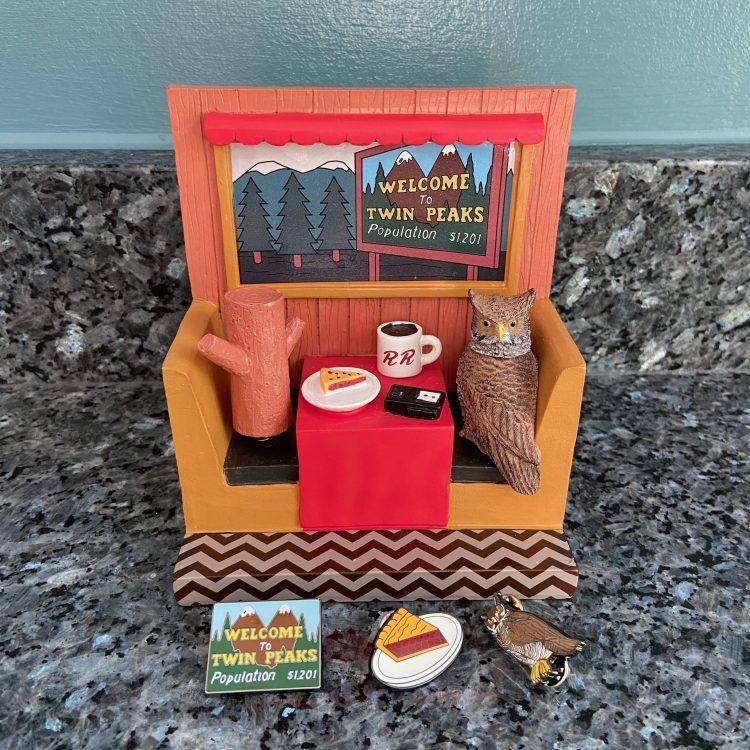 Twin Peaks bobblehead and enamel pins