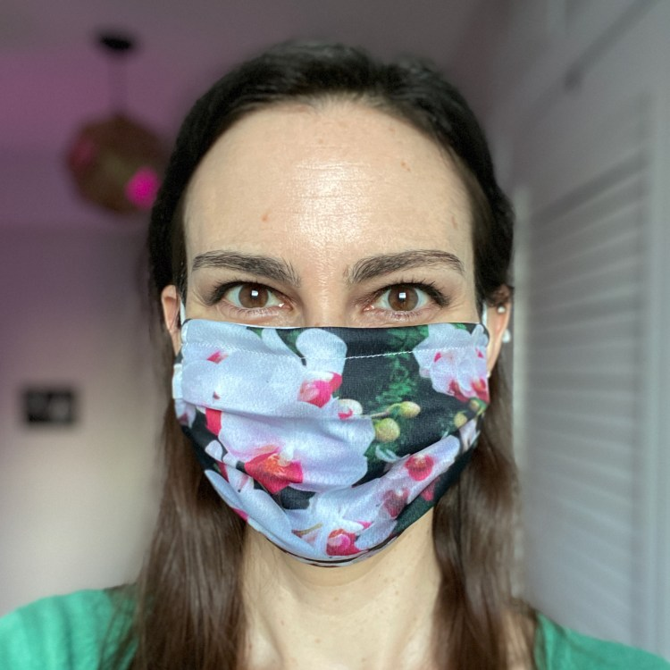 Orchid print face mask