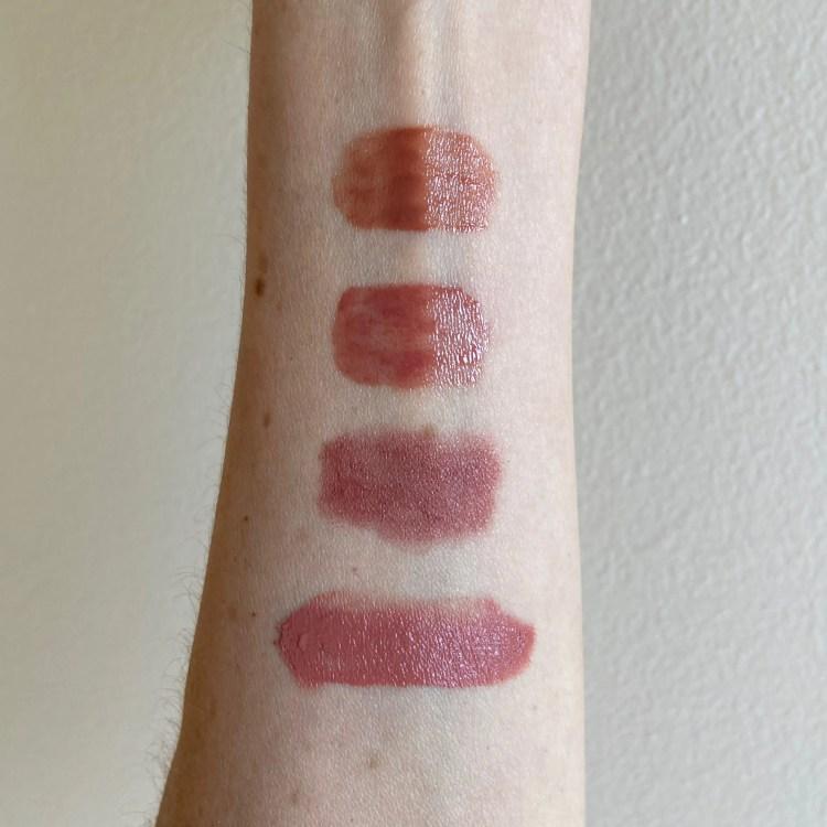 Lisa Eldridge gloss, lipstick, blush swatches