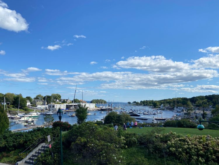View of Camden, Maine marina from the town library's lawn
