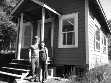 The old city hall building that we fixed up into an off-grid tiny house