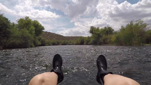 Water shoes help when you want to walk on the rocks