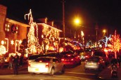 Traffic is slow because everyone's gawking at the lights.