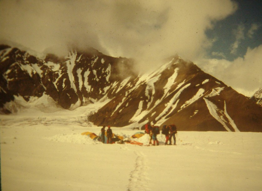 A glacier camp on the Ruth Glacier in Alaska.