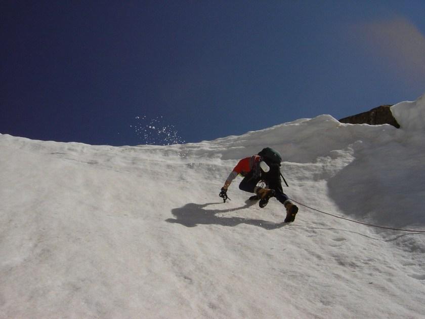 Ascending a steep mountain ridge.