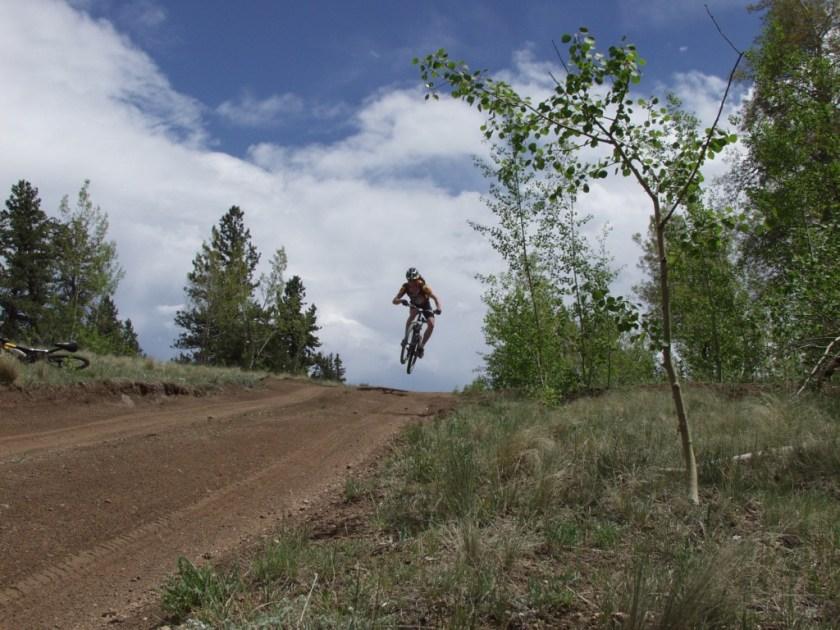 A dirt road via mountain bike